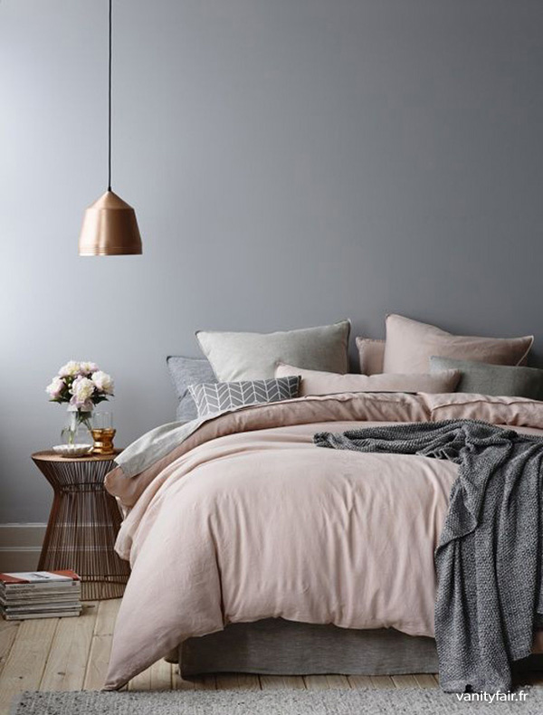 Copper design bedroom in grey and pink