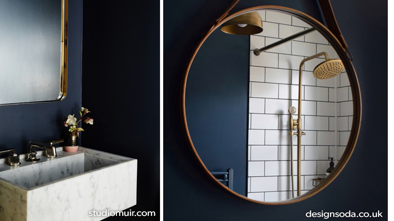 Dark bathroom inspiration with copper tapware and marble sink